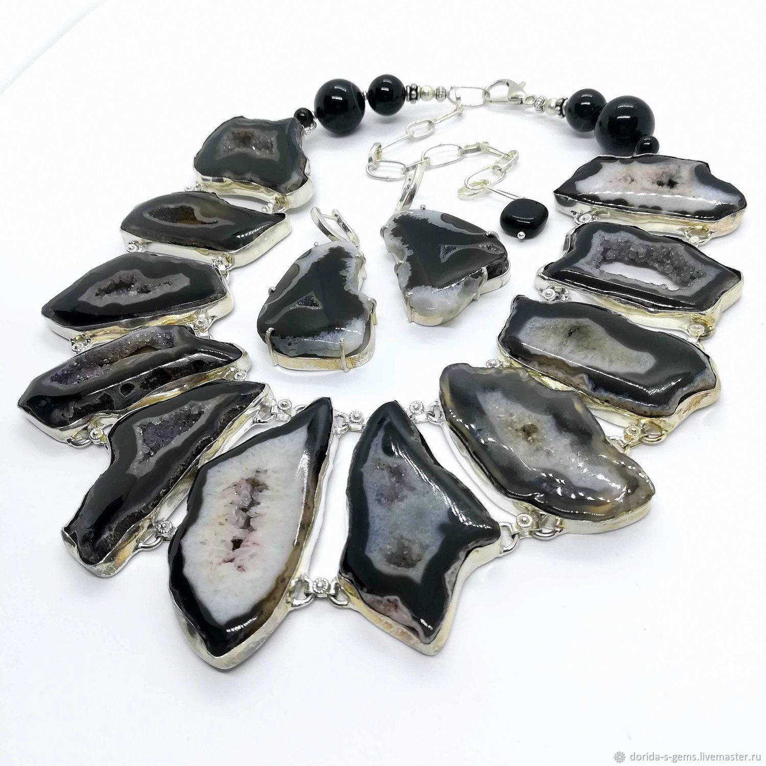 Gretta necklace and Geode agate beads Earrings, Necklace, Taganrog,  Фото №1
