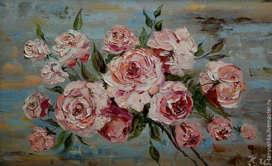 Картины цветов ручной работы. Ярмарка Мастеров - ручная работа. Купить Чайная роза. Handmade. Картина в подарок, картина, Живопись