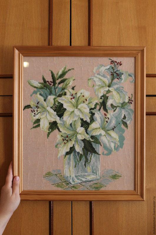 Пейзаж ручной работы. Ярмарка Мастеров - ручная работа. Купить Букет из лилий. Handmade. Комбинированный, картина в подарок, картина