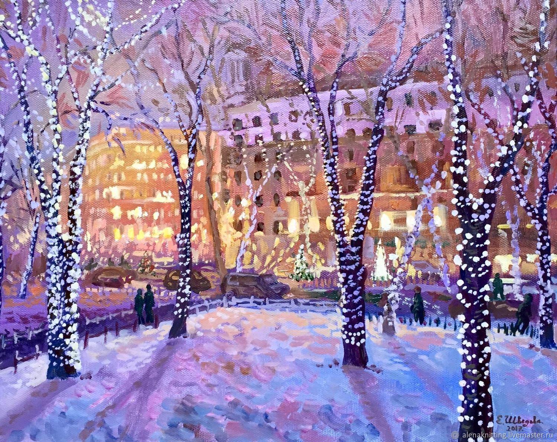 Elena Shvedova oil Painting `Holiday lights. Pushkin` 40h50. 2017 unframed.