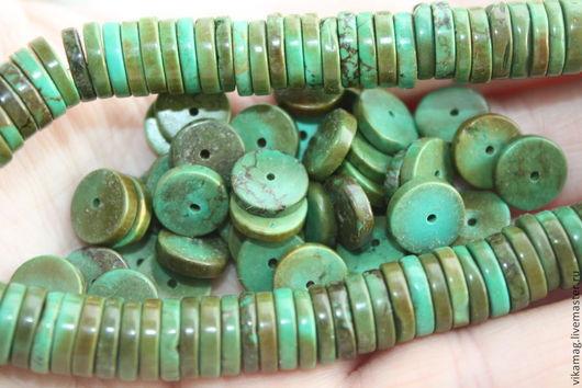 Для украшений ручной работы. Ярмарка Мастеров - ручная работа. Купить Бирюза Тибетская  (а ля) шайба, 9 мм. Handmade.