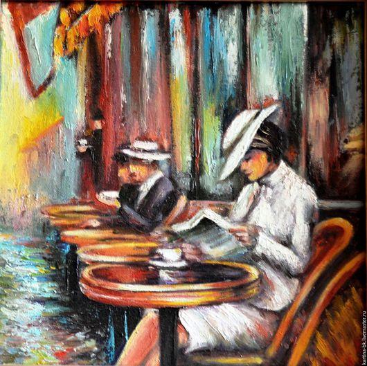 Люди, ручной работы. Ярмарка Мастеров - ручная работа. Купить В парижском кафе. Handmade. Кафе, утренний кофе, импрессионизм