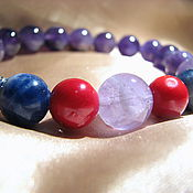 Украшения handmade. Livemaster - original item Bracelet of amethyst, sodalite and coral