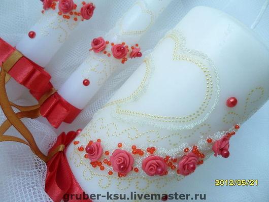 """Свадебные аксессуары ручной работы. Ярмарка Мастеров - ручная работа. Купить Свадебные свечи ручной работы """"Два сердца"""". Handmade."""
