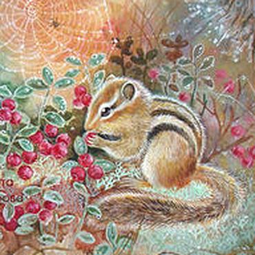"""Картины и панно ручной работы. Ярмарка Мастеров - ручная работа Картина """"Брусничная полянка"""" бурундук ягоды лес. Handmade."""