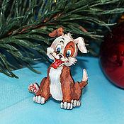 Украшения handmade. Livemaster - original item Brooch wooden icon dog ginger. Handmade.