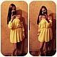 Желтое платье мини с открытыми плечами