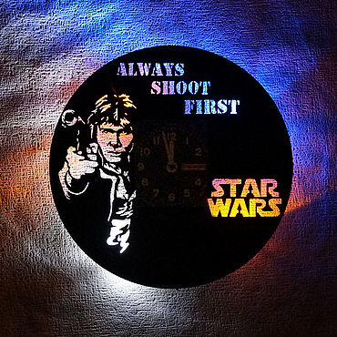 For home and interior handmade. Livemaster - original item Wall clock with LED backlight from Han Solo vinyl record. Handmade.