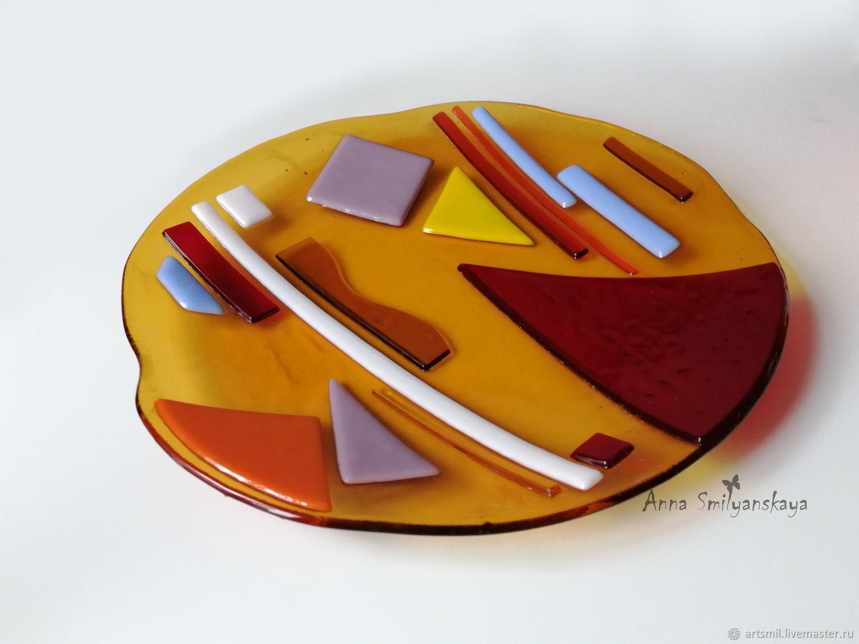 Dish Avangard glass, fusing, Dish, Moscow,  Фото №1