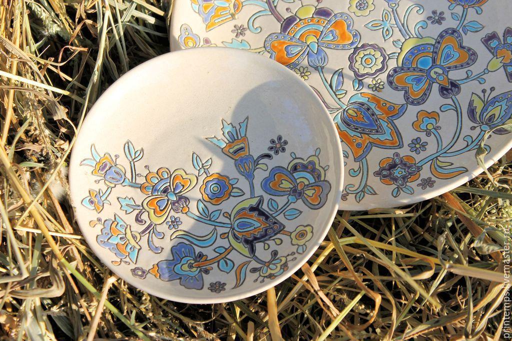 Декоративная посуда ручной работы. Ярмарка Мастеров - ручная работа. Купить Набор фарфоровый Тёплые узоры. Handmade. Набор посуды