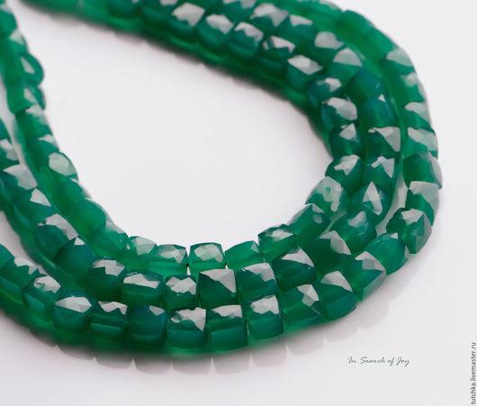 Для украшений ручной работы. Ярмарка Мастеров - ручная работа. Купить Изумрудно-зеленый оникс граненый куб 6,5-9мм. Handmade.