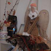 ангел тильда Кофейный   интерьерная кукла