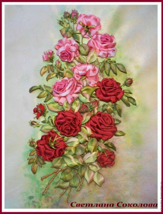 Картины цветов ручной работы. Ярмарка Мастеров - ручная работа. Купить Бордовые и розовые розы.. Handmade. Комбинированный, картина для декора