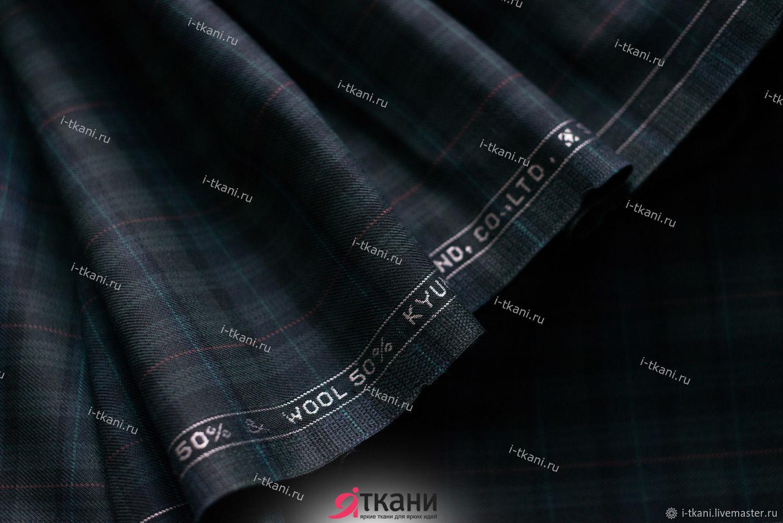 KTK12-023 Клетка костюмная. Цвет `Чёрная` Состав: 50%шерсть, 50%п/э  Ширина: 150см  Плотность: 290г/м2, 435г/мп Страна: Корея