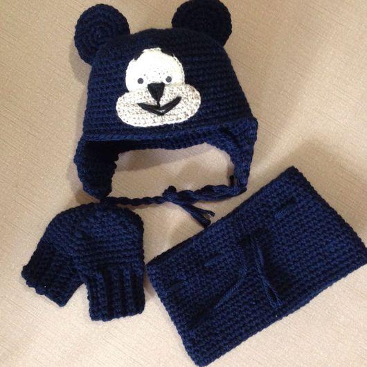 """Одежда для мальчиков, ручной работы. Ярмарка Мастеров - ручная работа. Купить Комплект """" Мишка"""".. Handmade. Шапка, снуд"""