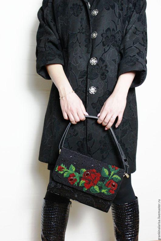 Женские сумки ручной работы. Ярмарка Мастеров - ручная работа. Купить Сумка женская Розы в кружевах. Handmade. Черный