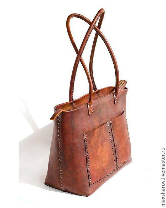 """Женские сумки ручной работы. Ярмарка Мастеров - ручная работа. Купить Кожаная сумка ручной работы коричневая № 144 """"Zurich"""". Handmade."""