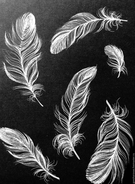 Картина черно-белые перья