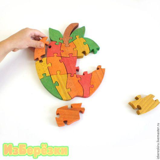 """Развивающие игрушки ручной работы. Ярмарка Мастеров - ручная работа. Купить Пазл объёмный """"Яблоко"""" с коробкой. Handmade. Ярко-красный"""