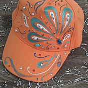 Аксессуары handmade. Livemaster - original item Baseball cap orange 3 options. Handmade.