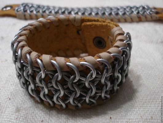 Браслеты ручной работы. Ярмарка Мастеров - ручная работа. Купить широкий кольчужный браслет. Handmade. Серый, кожа натуральная