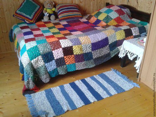 """Текстиль, ковры ручной работы. Ярмарка Мастеров - ручная работа. Купить Вязанный коврик """"И вечная... джинса"""". Handmade. Разноцветный"""