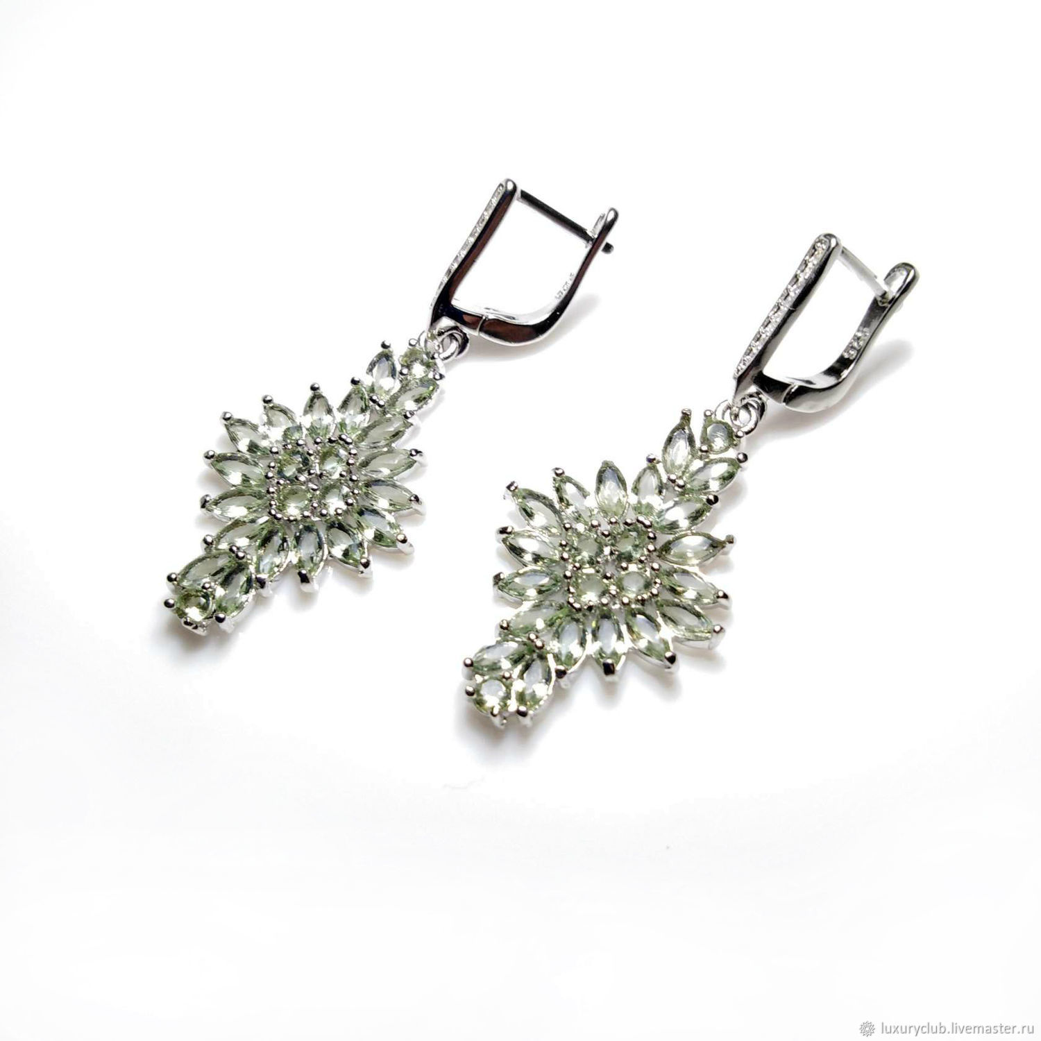 Earrings, soft green amethyst 925 sterling silver, Earrings, Tolyatti,  Фото №1