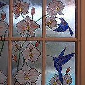 Для дома и интерьера ручной работы. Ярмарка Мастеров - ручная работа Птицы и орхидеи на окне и двери в интерьере. Handmade.