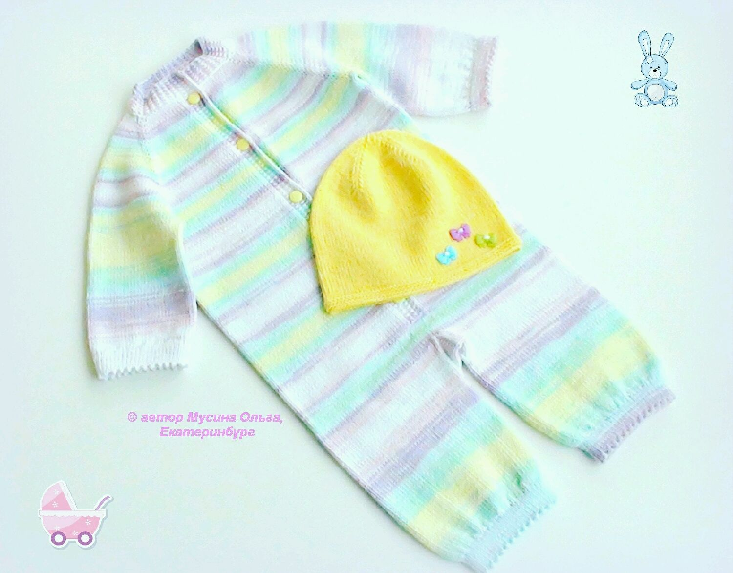 Summer Romper with hat for newborn 'Caramel', Overall for children, Ekaterinburg,  Фото №1