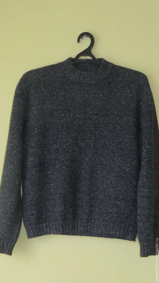 Для мужчин, ручной работы. Ярмарка Мастеров - ручная работа. Купить Мужской твидовый свитер. Handmade. Темно-серый, шёлк