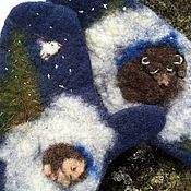 Работы для детей, ручной работы. Ярмарка Мастеров - ручная работа детские варежки   с ежиком из шерсти Альпаки, синица, вышитые,. Handmade.
