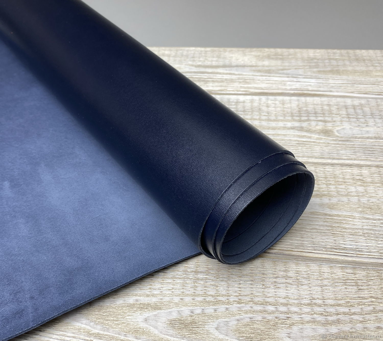 Натуральная кожа 1.3-1.5 мм Miura Krispel Deep Blue, Кожа, Оренбург,  Фото №1