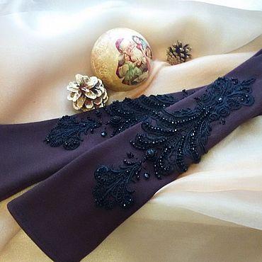 Accessories handmade. Livemaster - original item Long coffee colored gloves. Handmade.