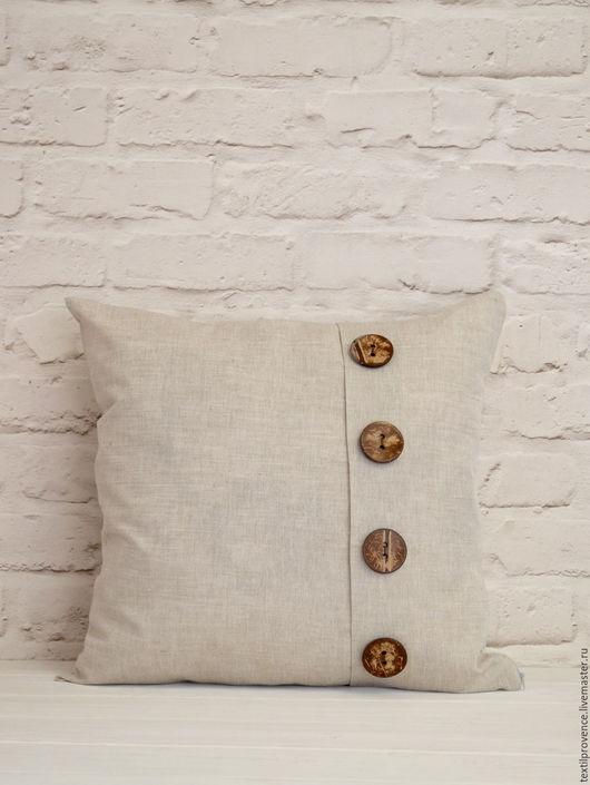Текстиль, ковры ручной работы. Ярмарка Мастеров - ручная работа. Купить Льняная Эко подушка с кокосовыми пуговицами. Handmade. Серый