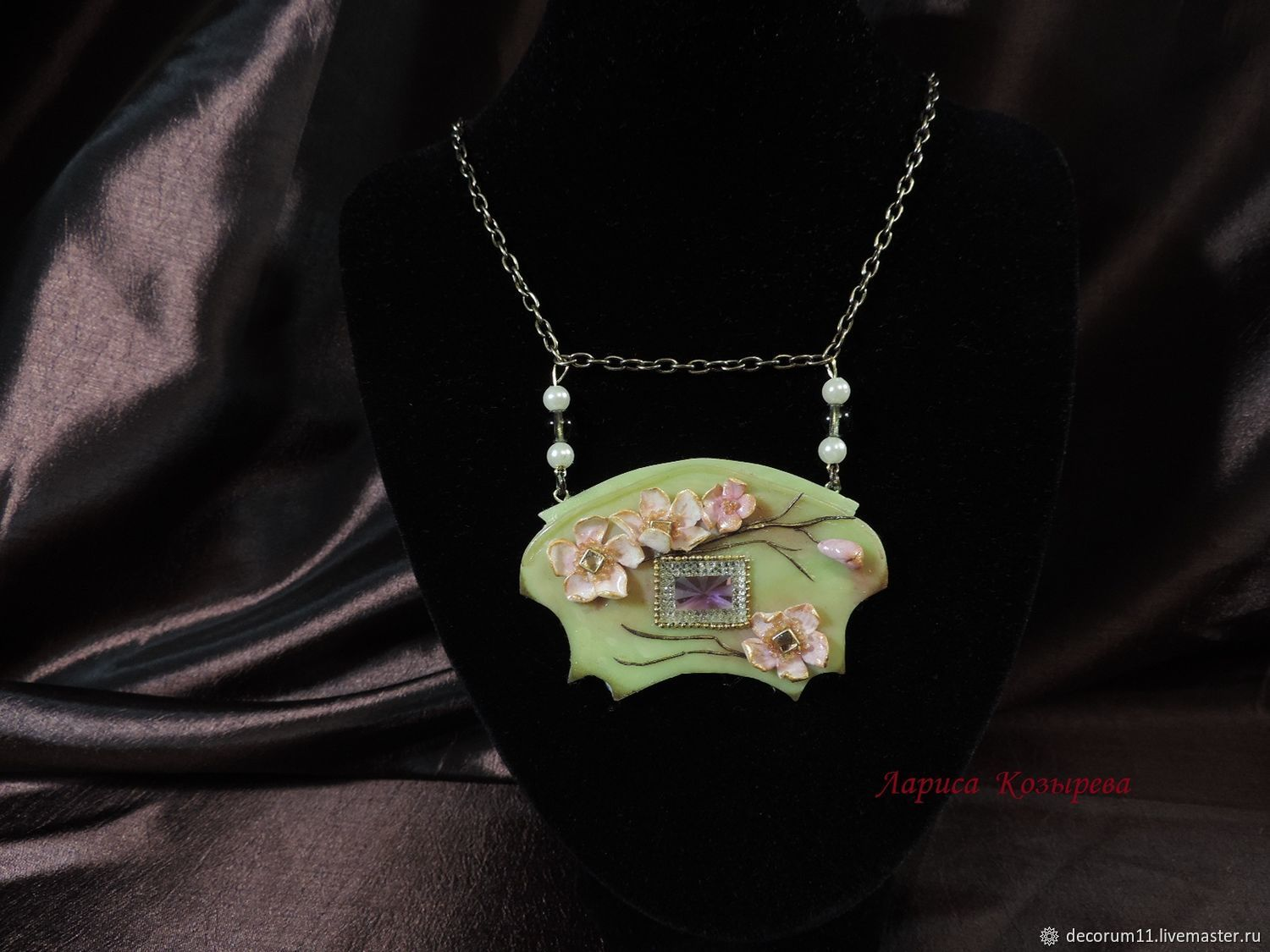Polymer clay necklace, neck jewelry, art Nouveau, Necklace, Moscow,  Фото №1