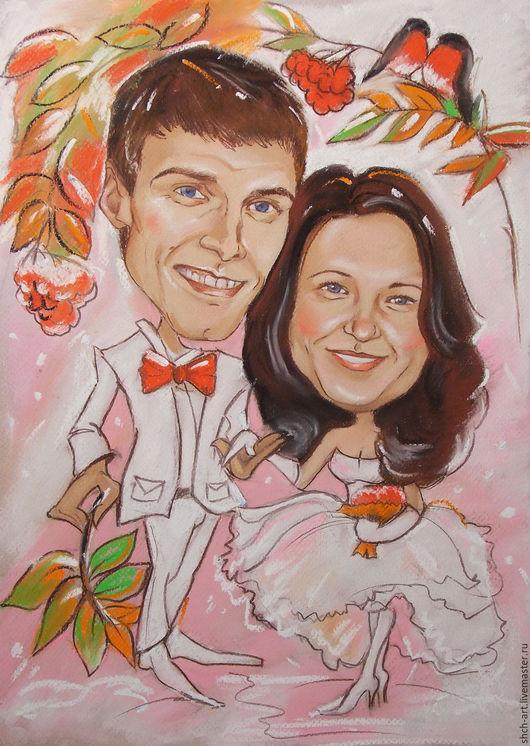 Шарж в подарок жениху и невесте на свадьбу.