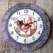 """Подарки к праздникам ручной работы. Ярмарка Мастеров - ручная работа Часы  """"Петух"""". Handmade."""