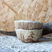 Посуда ручной работы. Ярмарка Мастеров - ручная работа Пара пиал керамика Папоротник. Handmade.