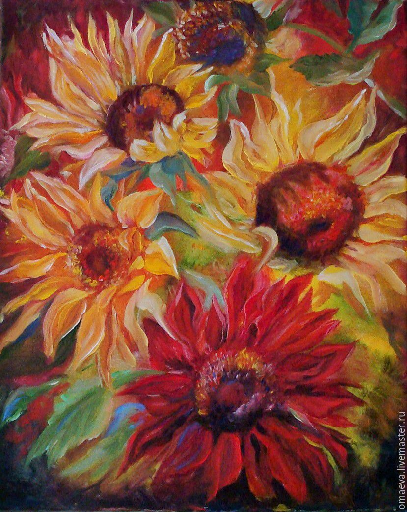 Picture.Sunflowers.bright flowers oil.canvas yellow, Pictures, Nizhny Novgorod,  Фото №1
