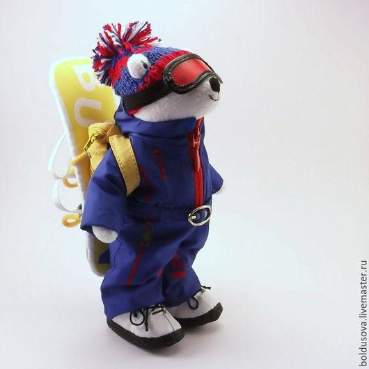 Игрушки животные, ручной работы. Ярмарка Мастеров - ручная работа. Купить Мишка сноубордист с рюкзачком. Handmade. Синий, что подарить мужчине