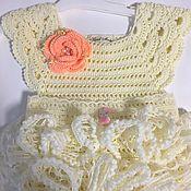 Работы для детей, ручной работы. Ярмарка Мастеров - ручная работа вязанное платье для девочки! Из ленточной пряжи. Handmade.
