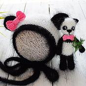Работы для детей, ручной работы. Ярмарка Мастеров - ручная работа Панда вязаный чепчик и игрушка для фотосессии новорожденных. Handmade.