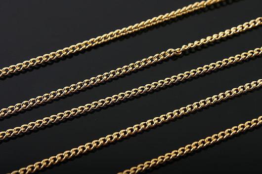 Тонкая цепочка 1 мм, из латуни с позолотой, 50 см. Фурнитура для украшений из Южной Кореи.