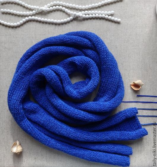 """Шарфы и шарфики ручной работы. Ярмарка Мастеров - ручная работа. Купить Шарф """"Marine"""". Handmade. Синий, шарфик вязаный, путешествие"""