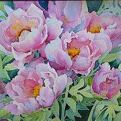 """Картины и панно ручной работы. Ярмарка Мастеров - ручная работа батик панно """"Розовые пионы"""". Handmade."""