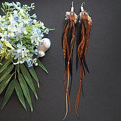Украшения ручной работы. Ярмарка Мастеров - ручная работа Пляжи на Гоа - коричневые серьги с перьями в стиле бохо. Handmade.