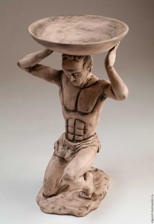 Статуэтки ручной работы. Ярмарка Мастеров - ручная работа. Купить Атлант. Handmade. Бежевый, статуэтки из керамики, декор для интерьера
