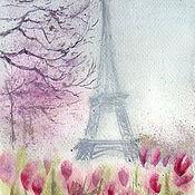 Картины и панно ручной работы. Ярмарка Мастеров - ручная работа Акварель Утро в Париже. Handmade.