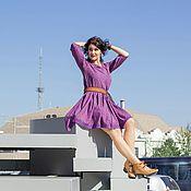 """Одежда ручной работы. Ярмарка Мастеров - ручная работа Платье из штапеля """"Сирень"""". Handmade."""