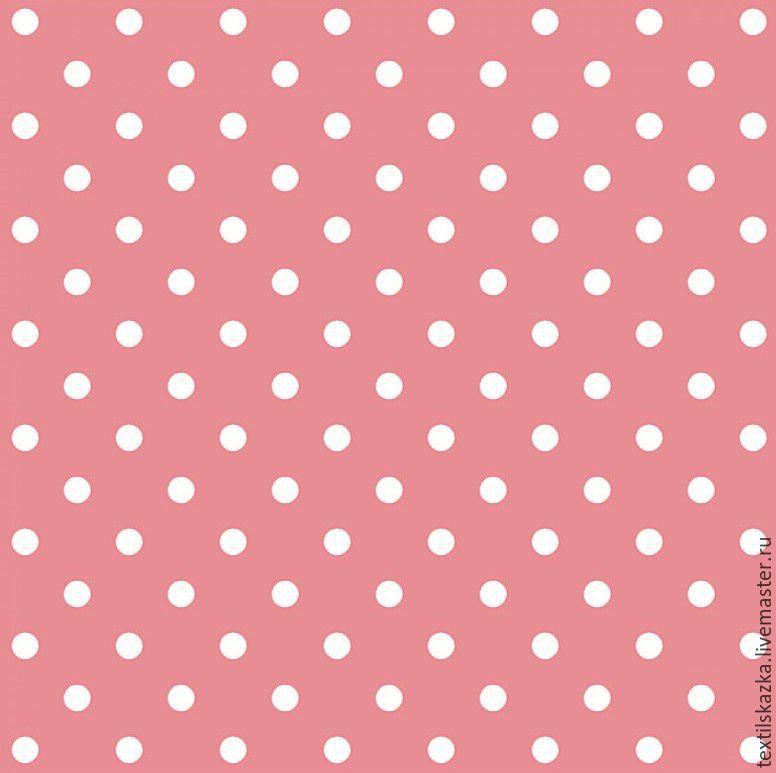 Ткань хлопок горошек Россия БМ розовый коралл, , Чайковский, Фото №1